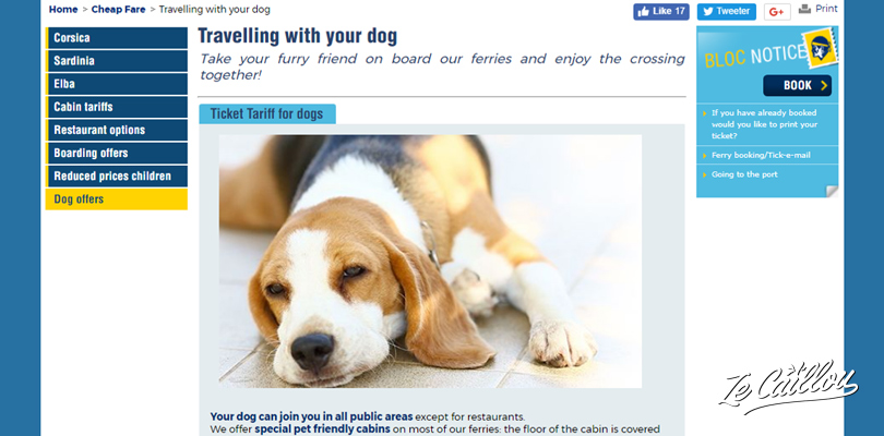 Travel with your dog by ferry in Europe, how to book for a dog on internet.