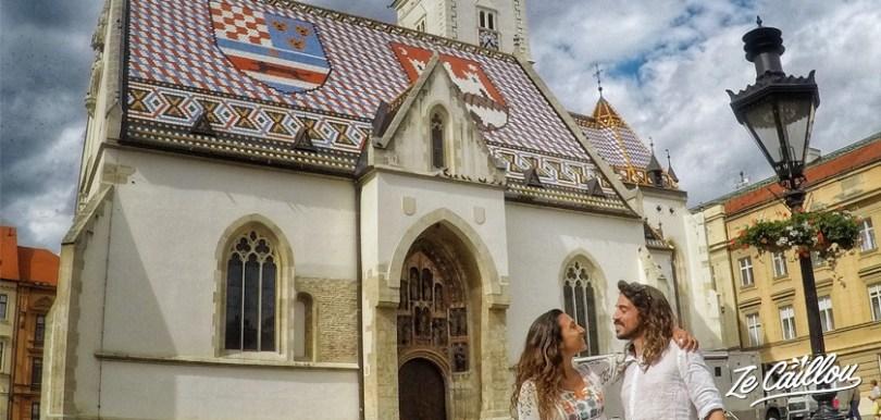 Visiter Zagreb, la capitale de la Croatie et l'église saint Mark, lors d'un voyage en Croatie en van aménagé.