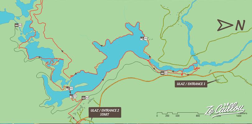 Carte du parcours K2, marche de 18km dans le parc des lacs de Plitvice en Croatie.