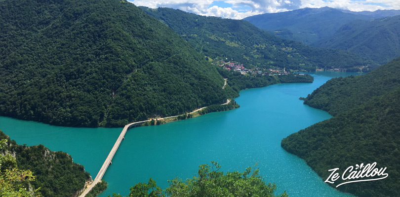 Wonderful road and panoramic view during our travel in Montenegro by van.