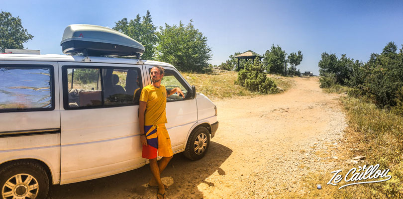 We park the van in a great place, a view point of Orhid lake. First night of our roadtrip in Macedonia with a van.