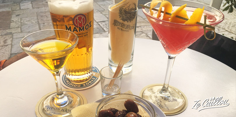 Taste the local alcohol from Naxos, the Kitron, made with lemon.