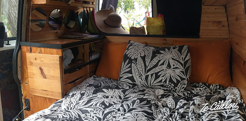 convertible sofa as a bed in our camper van.