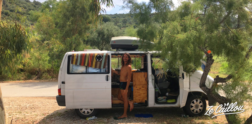 Our great spot with our van in Pelion, east region of Thessaly in Greece.