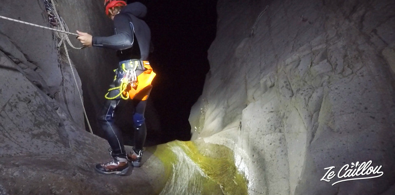 Canyoning Fleur Jaune by night, under the light of the full moon.