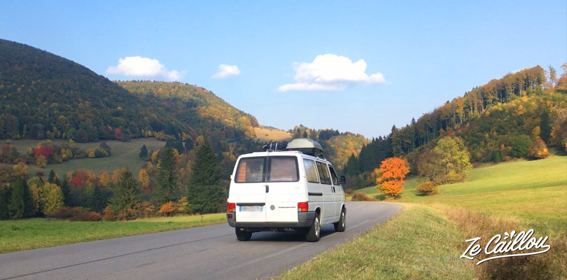 Drive on the very nice roads of Slovakia in a van during a european road trip.