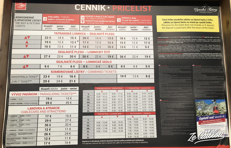 Cable car's pricelist for Skalnate Pleso, trek in high Tatras in slovakia