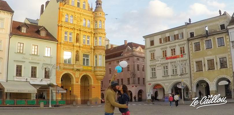Visit Cesky Budejovice and the nice Premisl Otakar square in Czech Republic in a van.