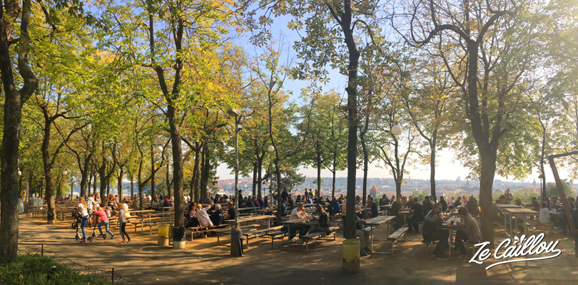 Beergarden in Letna park above Prague, perfect to enjoy a fresh beer during summer.