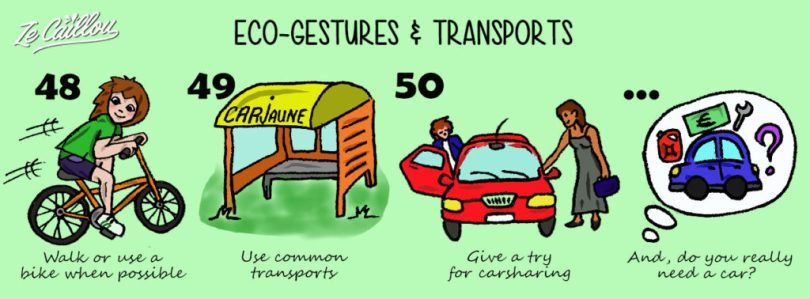 Protect the environment reducing your transport, walk or bike, use public transport, carsharing...