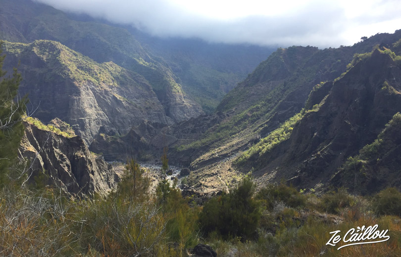 Great view on Trois Roches during our GRR2 Day 5 in Mafate, La Reunion.