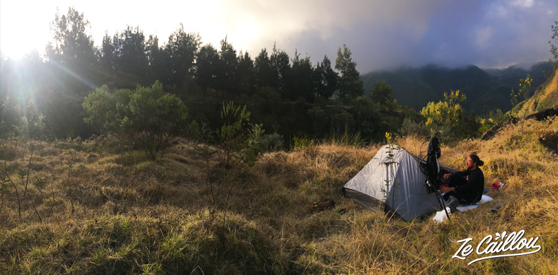 Our bivouac spot in Marla, during our GRR2 day 5, last night in Mafate.