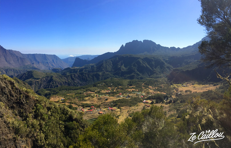 View on Marla and La nouvelle from col du taibit climb during our GRR2 day 6 in Reunion.