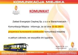 KOMUNIKAT - od 22.02.2021r. przywrócone zostaje kursowanie autobusów KM
