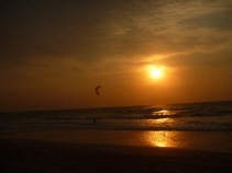 Watching the kite surfers at sunset