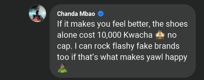 Chanda Mbao's reply to a music fan