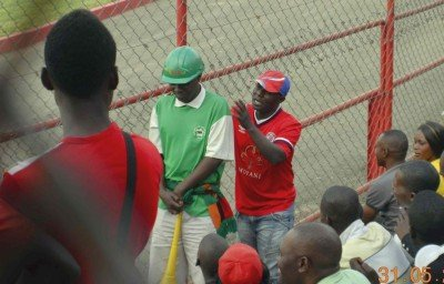 Green Buffaloes fan poked by a Nkana fan