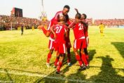 Nkana celebrates a goal against Power Dynamos at Arthur Davies in Kitwe