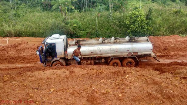 Caminhão atolado