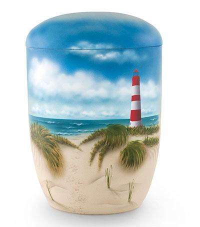 Biologische zee urn met afbeelding van vuurtoren