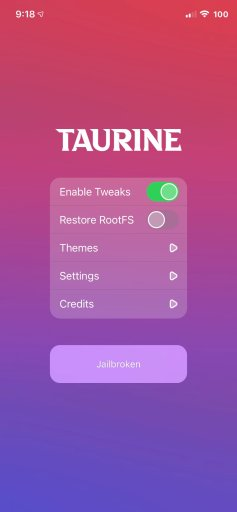 Taurine jailbreak online and PC installation guide