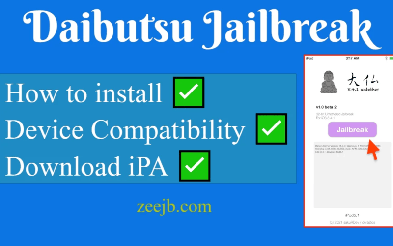 based on daibutsu – 32bit iOS 8.4.1- iOS 9.1 untethered kernel exploit