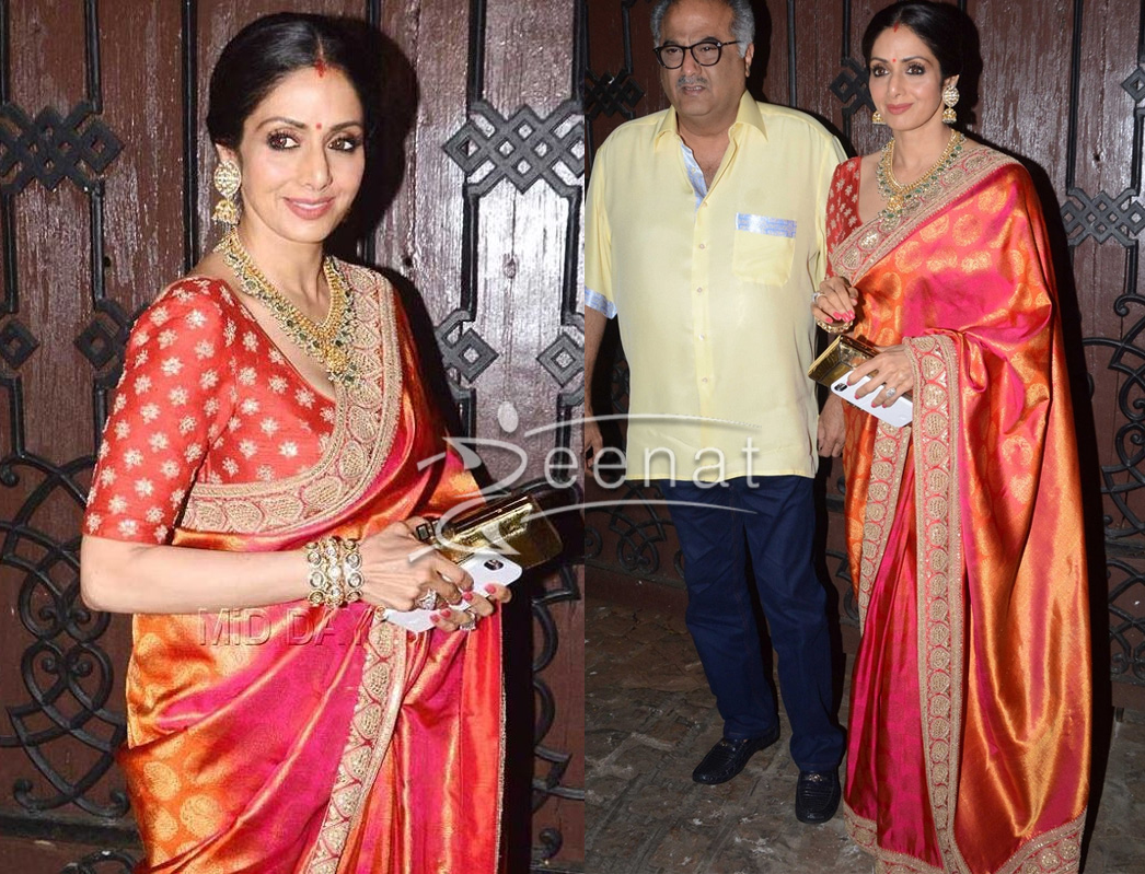 Sridevi In Sabyasachi Saree For KarvaChauth Zeenat Style