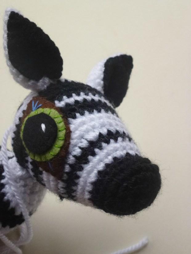 hand made crochet zebra