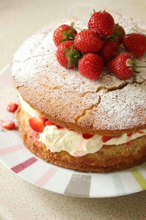 A delicious strawberry vanilla sponge cake.