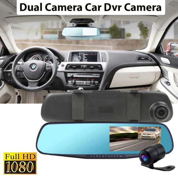 "Dual Camera Car Dvr Camera Rearview Mirror Dash Cam G-Sensor HD 1080P 4.3"" 140 Degree"