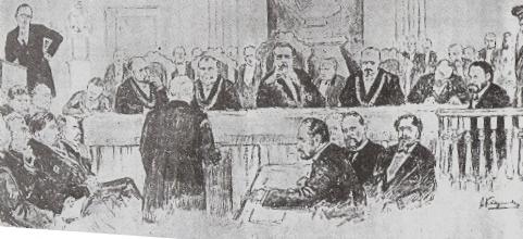 ציור אולם המשפט שהופיע באחד מעתוני התקופה