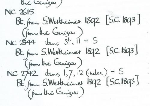 ההוכחה. כרטסת מקימברידג' בה נרשמה קניית קטעי גניזה מהרב ורטהיימר לפני שכטר.