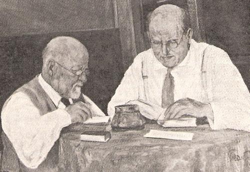 ביאליק ורבניצקי כותבים את ספר האגדה. (ציור)