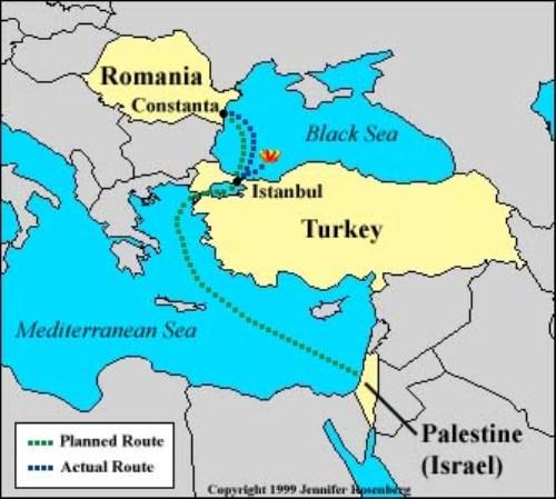 מפת המסלול המצתוכנן שלסטרומה. מנמל קונסטנצהדרך הבוספורוס והדרדנלים לארץ ישראל