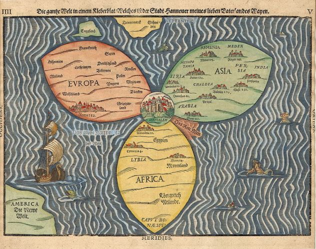 ירושלים במרכז העולם מפה משנת 1581