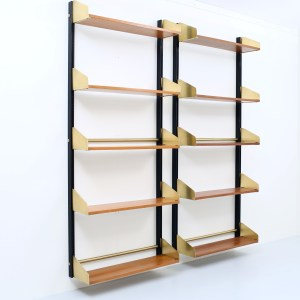 "Two 'S2"" bookshelves in anondised black aluminium, brass and wood by FEAL, Italy, 1957"