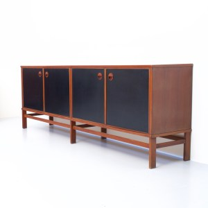 Four-door Italian Sideboard in Teak and black laminate, Italy, 1960's