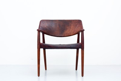Loungechair by Ejner Larsen and Aksel Bender Madsen in Rosewood and patinated Leather for Willy Beck, Denmark, 1949