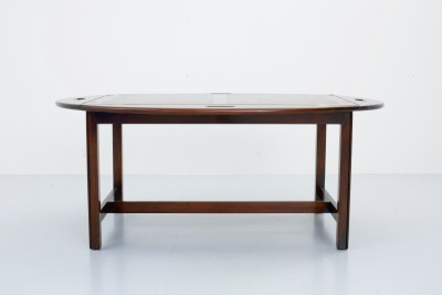 Coffeetable with loose Butlertray in Mahogany and Brass, Sweden, 1960's