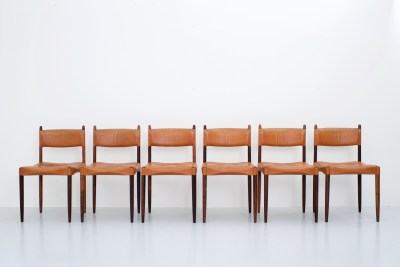 Set of six Rosewood Diningchairs in cognac Leather by Anders Jensen, Hostebro, Denmark, 1960's