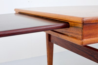 Coffeetable F102 by Johannes Andersen for Nya Möbelfabriken in Rosewood and 2 extractable leaves, Denmark, 1960's