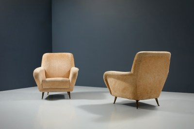 1 Sofa curved and 2 Lounge Chairs by I.S.A._Fabric and Brass_Italy_1960s5H0A4695HR_zeger van Olden_mid century_mid century modern_amsterdam_italian_scandinavian