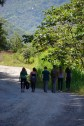 Hannah, Nina,Jake, Luke, Naomi and Emilie walking to Yolosa to the Flying Fox zipline