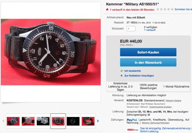 Kemmner Uhren - Military Dreizeiger