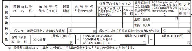 地震保険料控除申告書