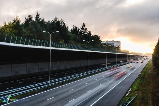 A28 in de herfst bij mistig weer en ondergaande zon