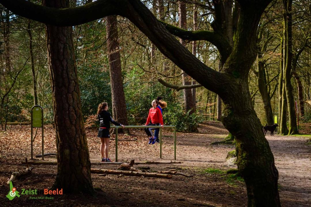 Anne en Olja gebruikte het parcours als alternatief voor de training op Schaerweijde. Trimbaan Zeisterbos alternatief voor de sportschool