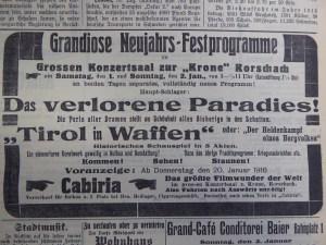 Anzeige in der Rorschacher Zeitung vom 31.12.1915