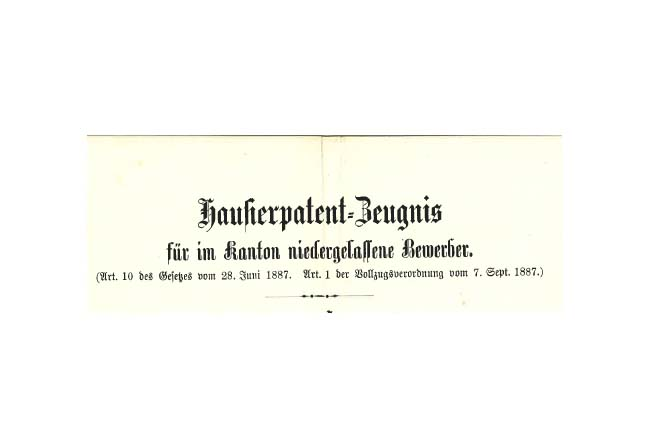 Hausierpatent-Zeugnis für im Kanton niedergelassene Bewerber