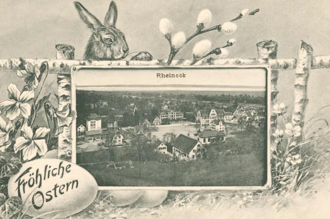 Ansichtskarte von Rheineck mit Osterhase